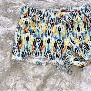 Dollhouse Tribal Print Jean Shorts